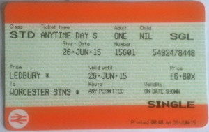 Generic train ticket.